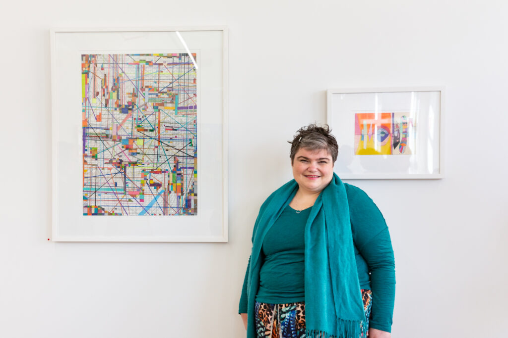 Artist Monica Lazzari at the opening of her solo as part of 4x4 Artist Solos Installation. Image © Janelle Low, 2021