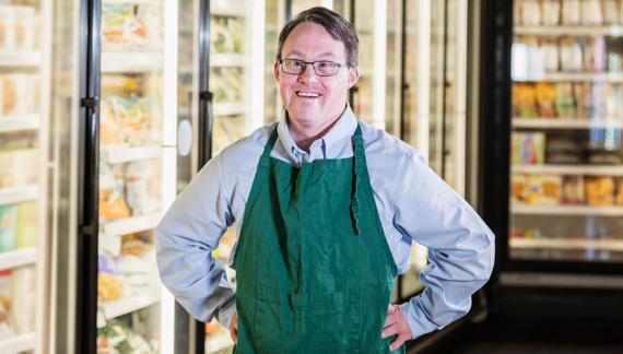 A supermarket worker