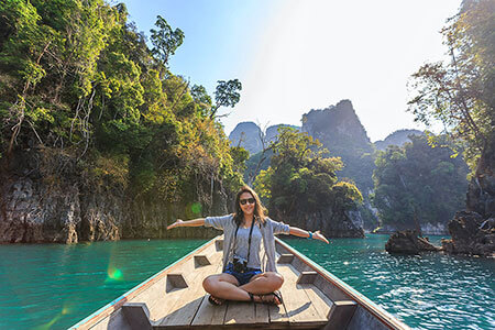 Woman travelling on a boat