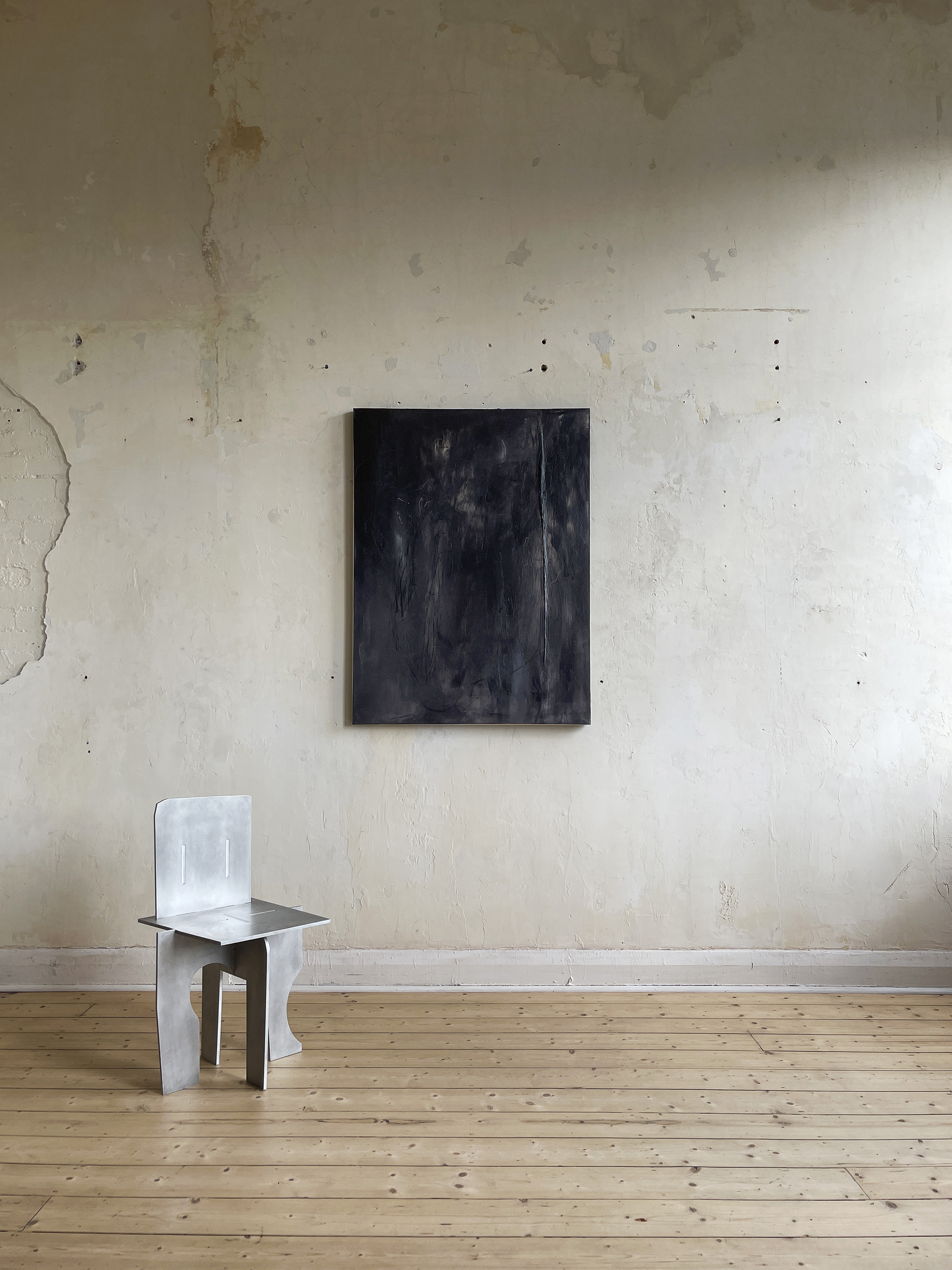 Liam Costar At the above a mindscape Catalogue a refusal of truths Oil charcoal 122cmx91cm Situ