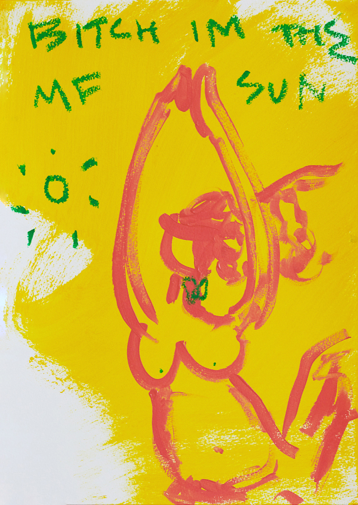 Marisa Mu At the above Bitch I m the MF Sun 29 7cm x 42cm acrylic and oil pastels on coldpress paper Crop