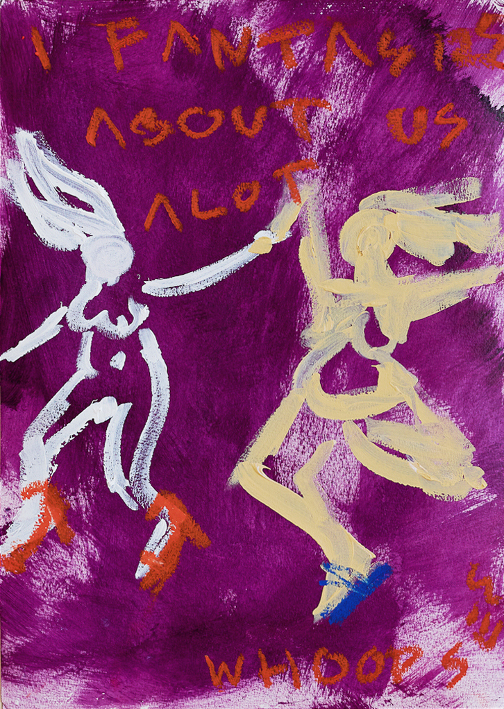 Marisa Mu At the above I Fantasize About Us Alot 29 7cm x 42cm acrylic and oil pastels on coldpress paper Crop