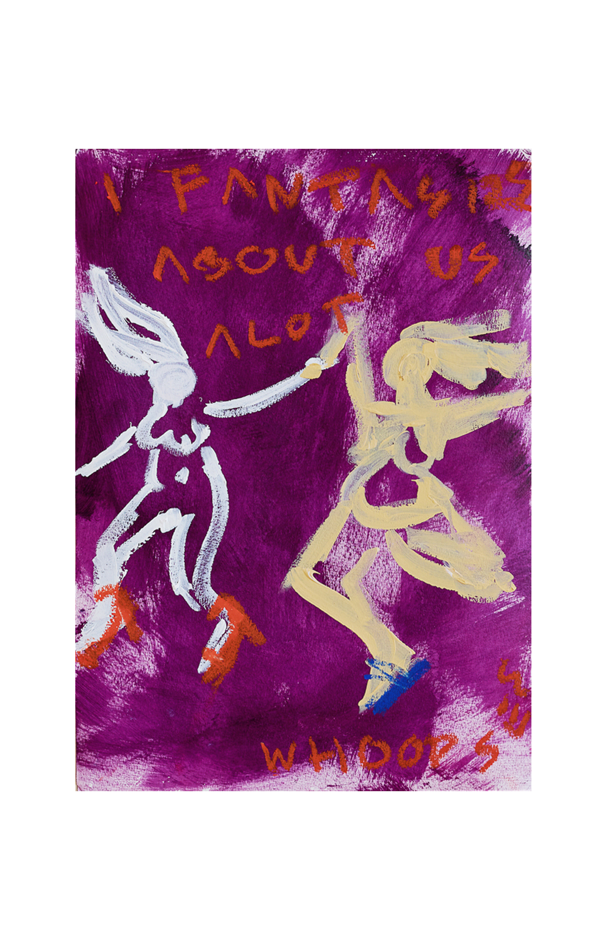 Marisa Mu At the above I Fantasize About Us Alot 29 7cm x 42cm acrylic and oil pastels on coldpress paper White