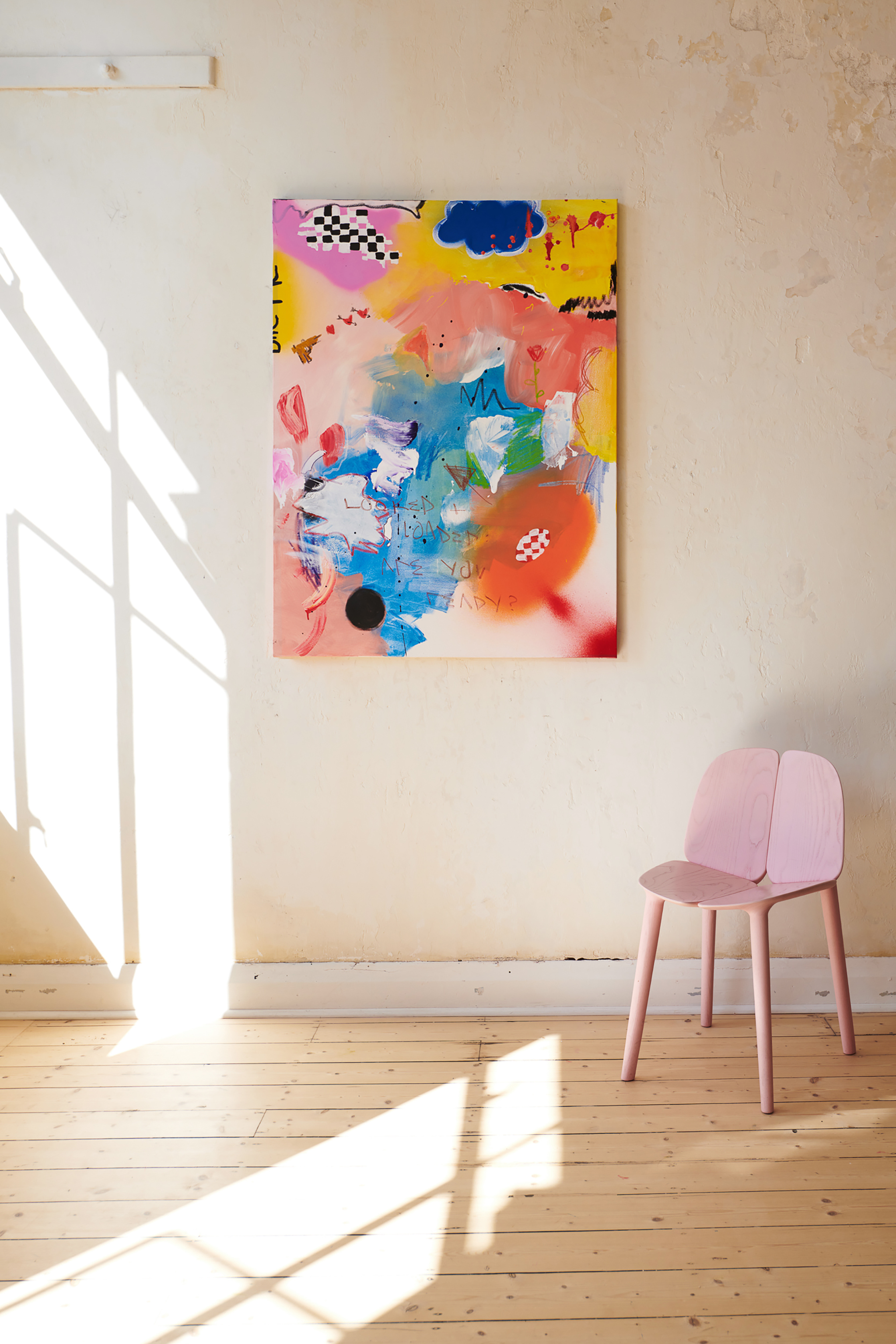 Marisa Mu At the above The Lover 91cm x 122cm acrylic oil pastels and crayon on canvas