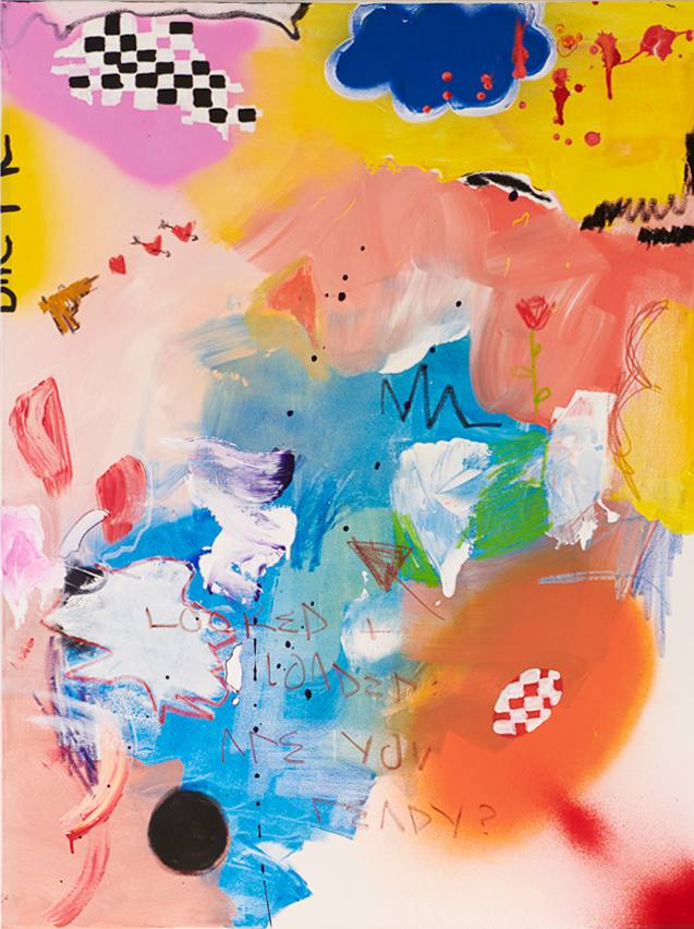 Marisa Mu At the above The Lover 91cm x 122cm acrylic oil pastels and crayon on canvas Crop