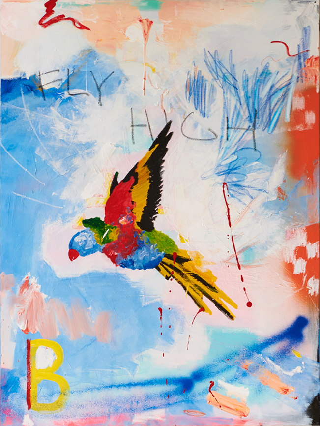 Marisa Mu At the above The Power 91cm x 122cm acrylic oil pastels and crayon on canvas Crop