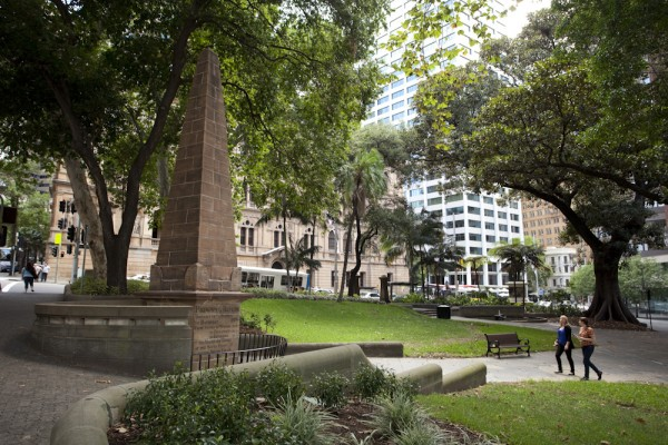 View of Obelisk of Distances at Macquarie Place