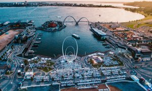 Aerial view of Diner en Blanc at Elizabeth Quay