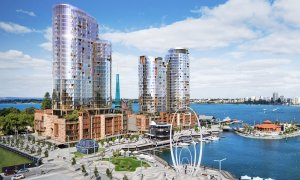 Artist impression of the Ritz Carlton Hotel and The Towers Perth at Elizabeth Quay