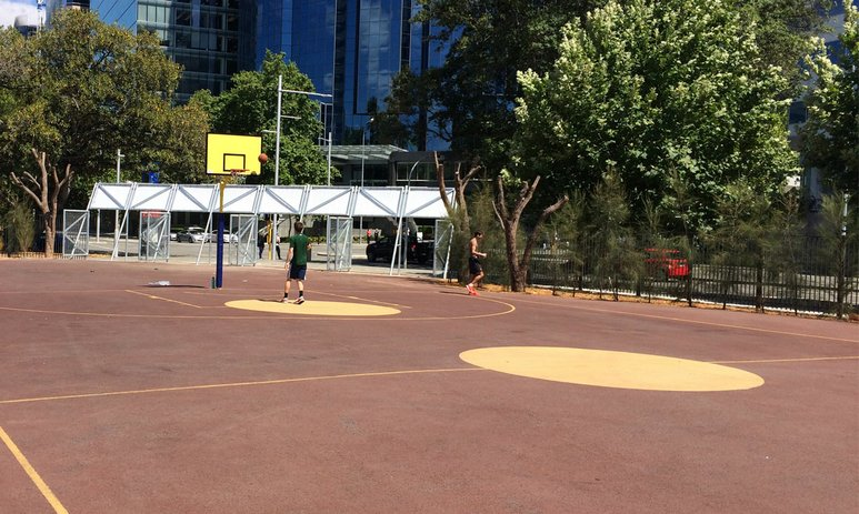 Basketball court at Elizabeth Quay