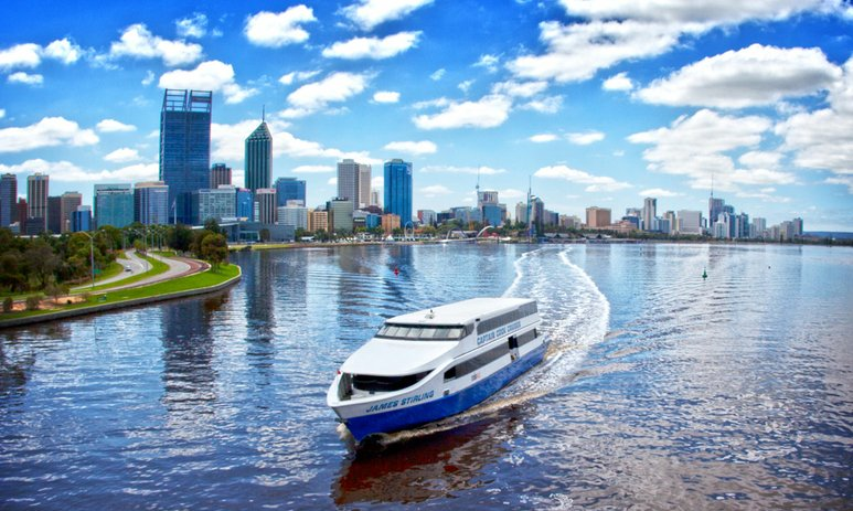 Captain Cook cruise boat on the Swan River with Perth city in the background