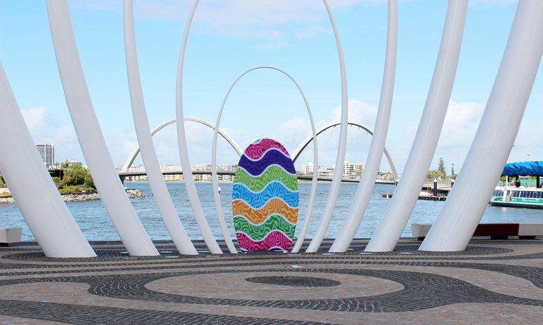 The Spanda sculpture with the smallest ring decorated to look like an Easter egg