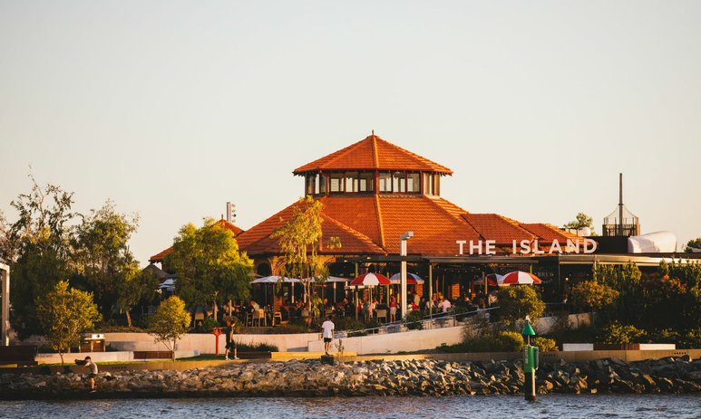 The Island restaurant at sunset