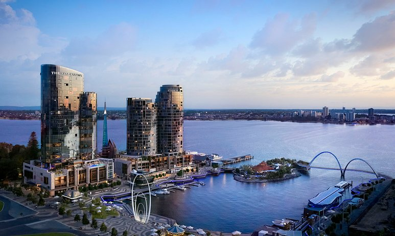 View of The Ritz Carlton, Perth across Elizabeth Quay and the Swan River