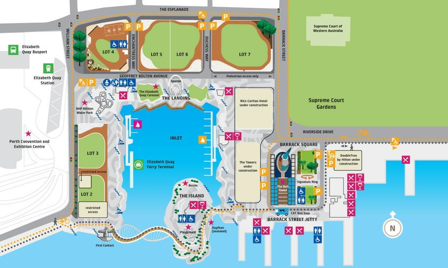 Map showing Elizabeth Quay and its amenities