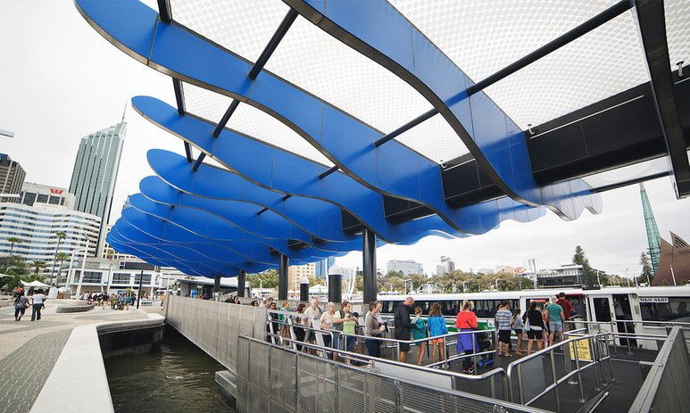 Artwork atop of the Transperth ferry terminal canopy at Elizabeth Quay.