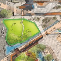 Aerial illustration of the Yagan Square highlighting The Lawn event space.