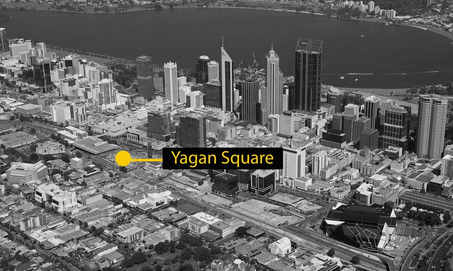 An aerial black and white photo of Yagan Square's location