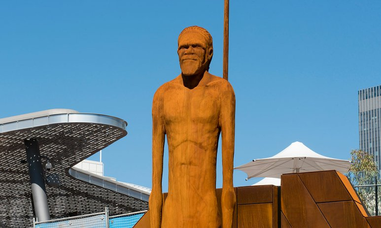 Wirin statue in Yagan Square, by artist Tjyllyungoo/Lance Chadd with Trish Robinson and Stuart Green
