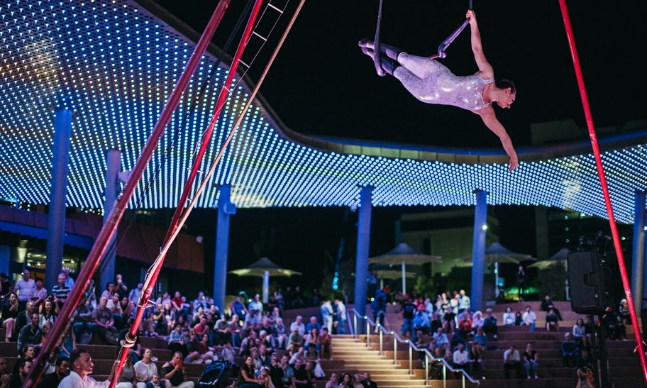 Aerial performance at night