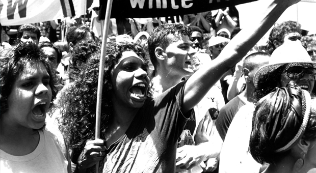 Protesting taking to the streets of Sydney during the 1988