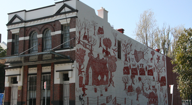 mural on the southern wall of Wyanga