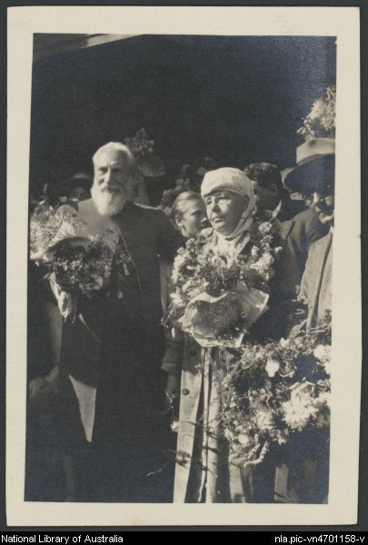 Charles Webster Leadbeater and Annie Besant on her arrival in Sydney, May 1922