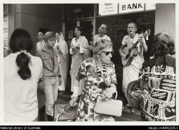 Hare Krishna, Kings Cross, 1970-1971, photo by Rennie Ellis,courtesy National Library of Australia nla.pic-vn4082229