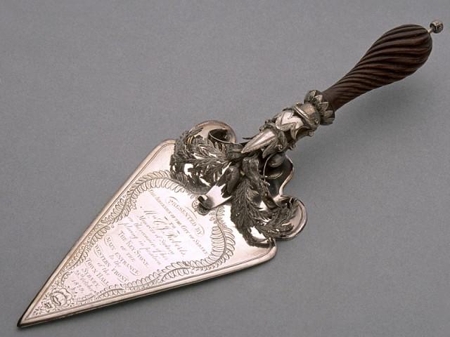 Ceremonial silver trowel