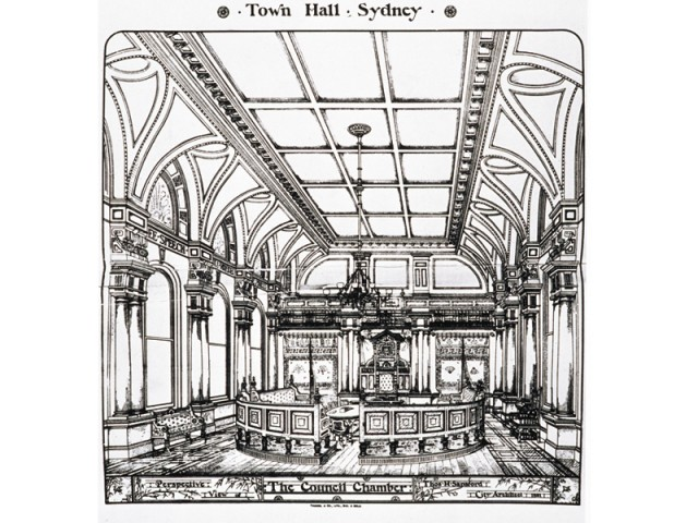 Perspective sketch for the Council Chamber