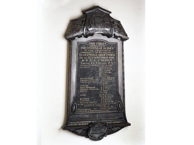 Plaque commemorating the HMAS-Sydney's victory against SMS-Emden