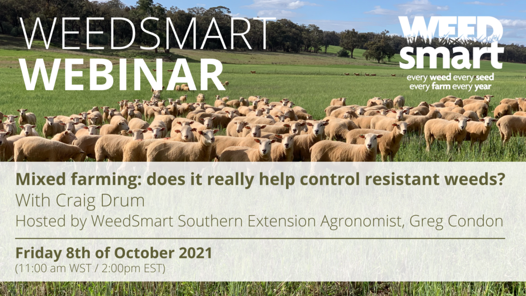 """Image promoting the WeedSmart webinar on the topic """"Mixed farming: does it really help control resistant weeds?"""" presented on Friday the 8th of October 2021 at 1:00 pm WST / 2:00 pm EST"""