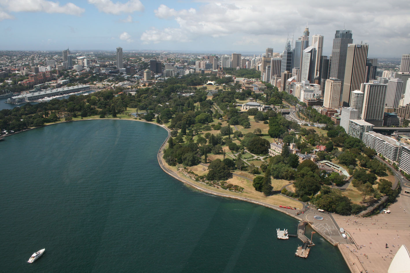 City of Sydney and Farm Cove from above (2009), with one of Sydney's earliest remaining cultural landscapes in the foreground.