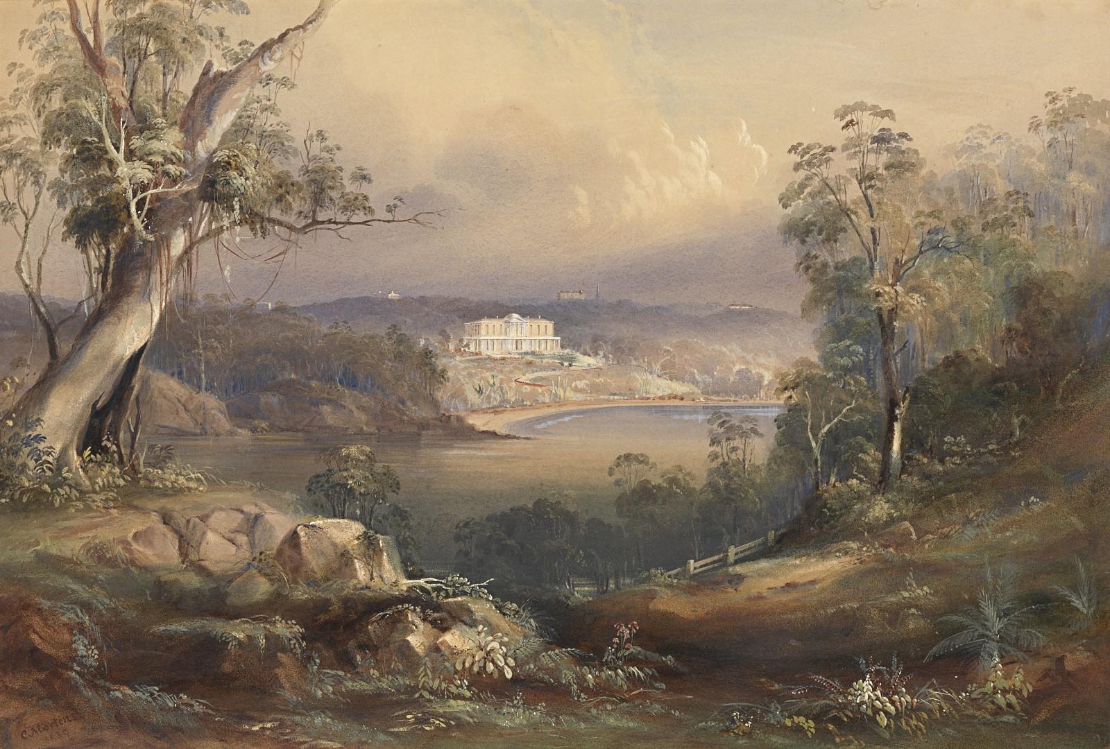Elizabeth Bay and Elizabeth Bay House 1839. Conrad Martens born England 1801, arrived Australia 1835, died 1878 - watercolour 46.1 x 66.3cm. National Gallery of Victoria, Melbourne, Felton Bequest, 1950.