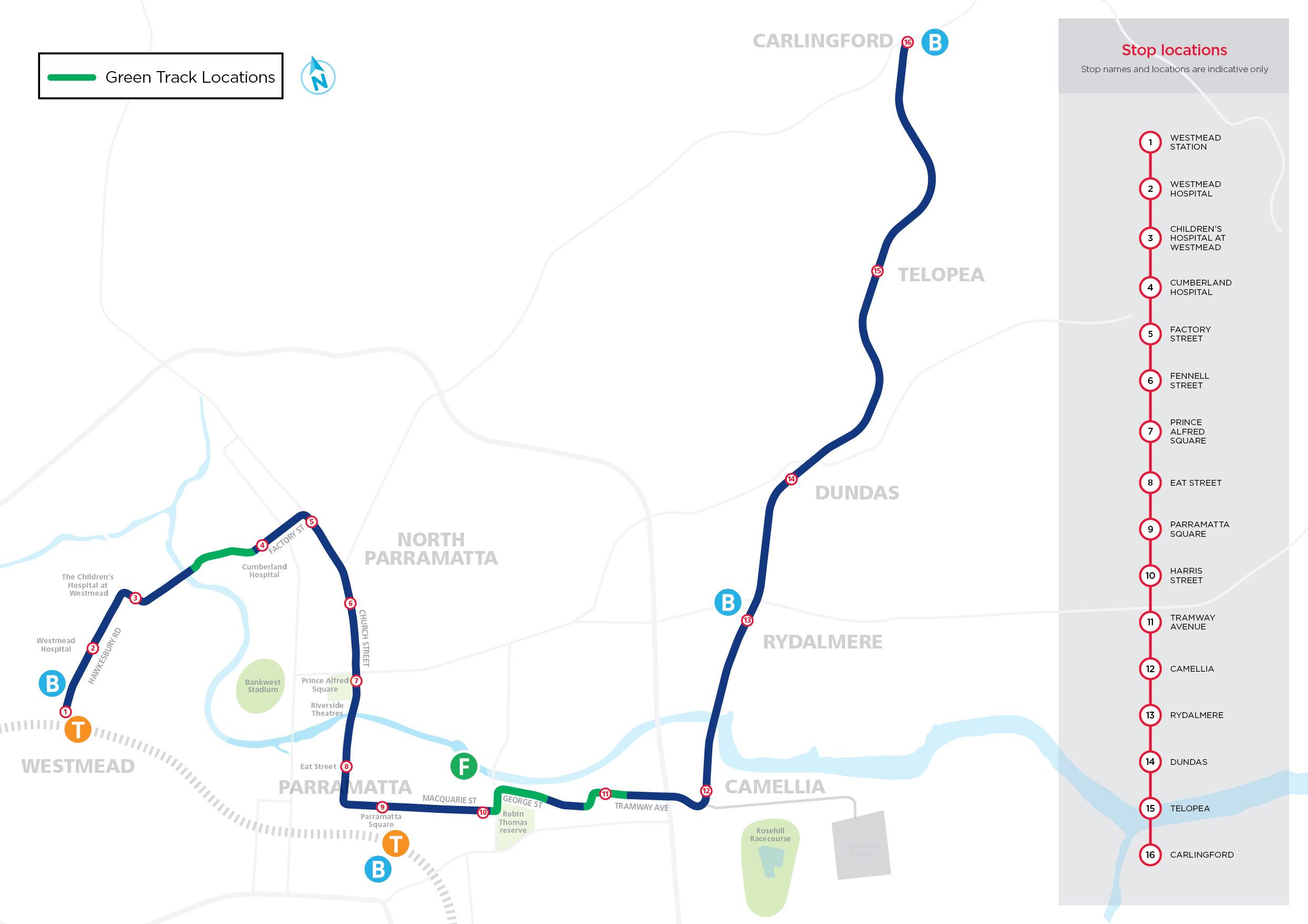 Parramatta Green Track Locations