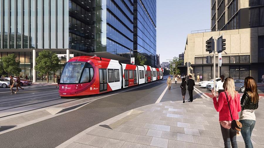 Artist's impression of light rail travelling along Macquarie Street