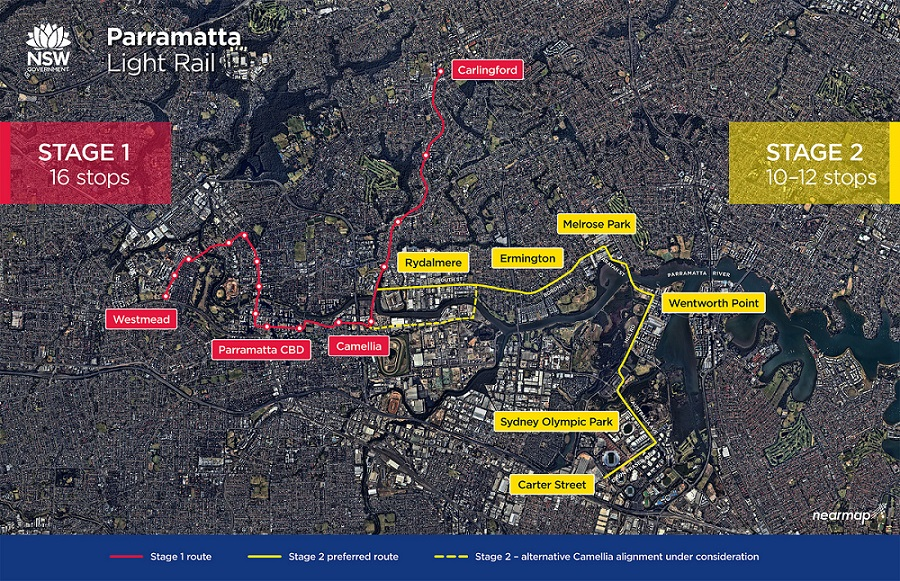 Stage 1 and Stage 2 of the Parramatta Light Rail map