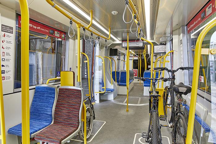 internal view of light rail carriage