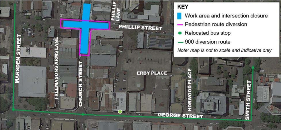 Map of works at the intersection of Phillip St, Parramatta