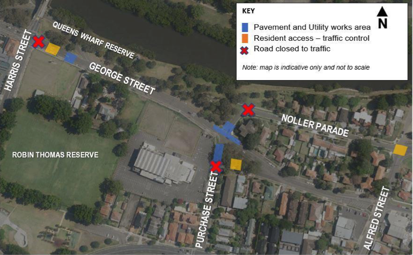 Intersection closures at Noller Pde, George St and Purchase St, Parramatta