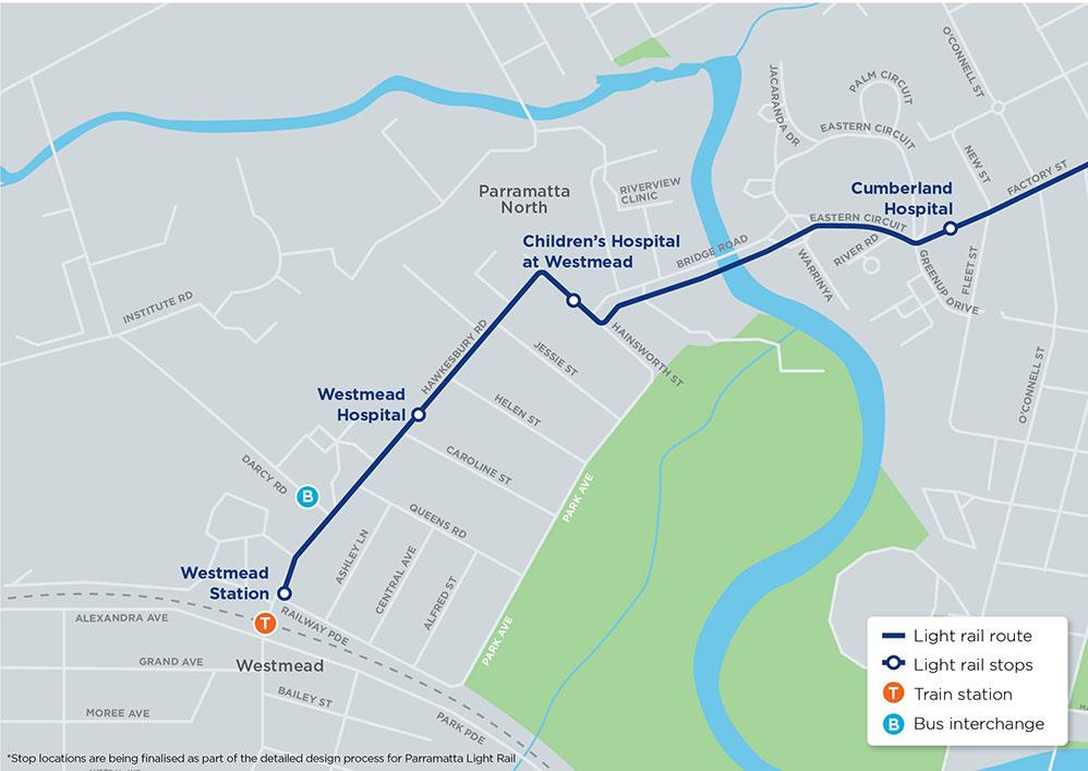 Parramatta Light Rail Westmead and Cumberland area