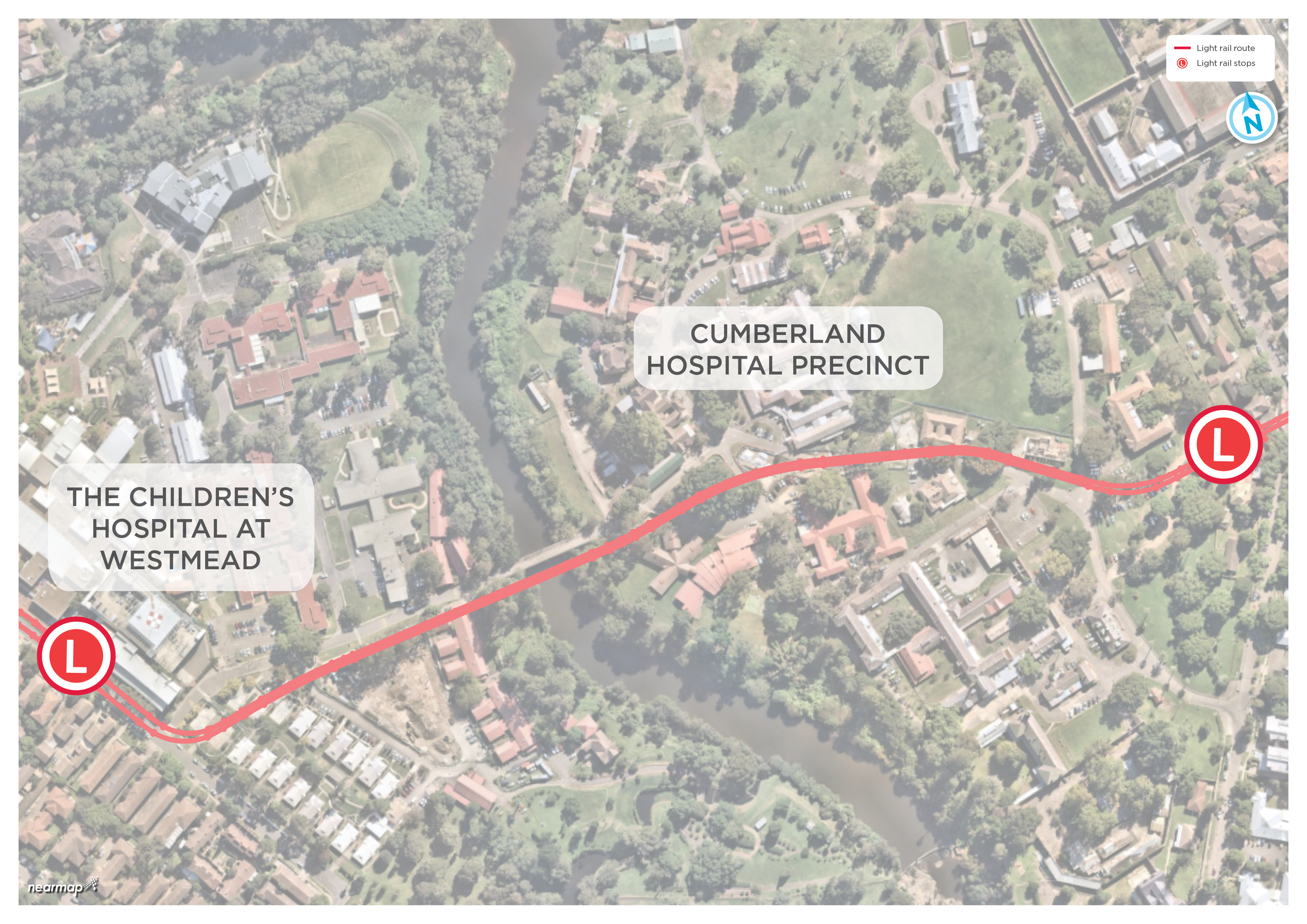 Map showing the future light rail route through the Cumberland Hospital Precinct