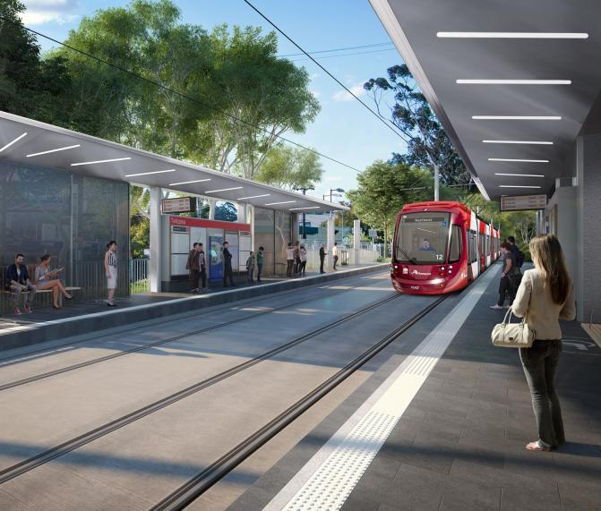 Artist's impression of the Parramatta Light Rail in Telopea
