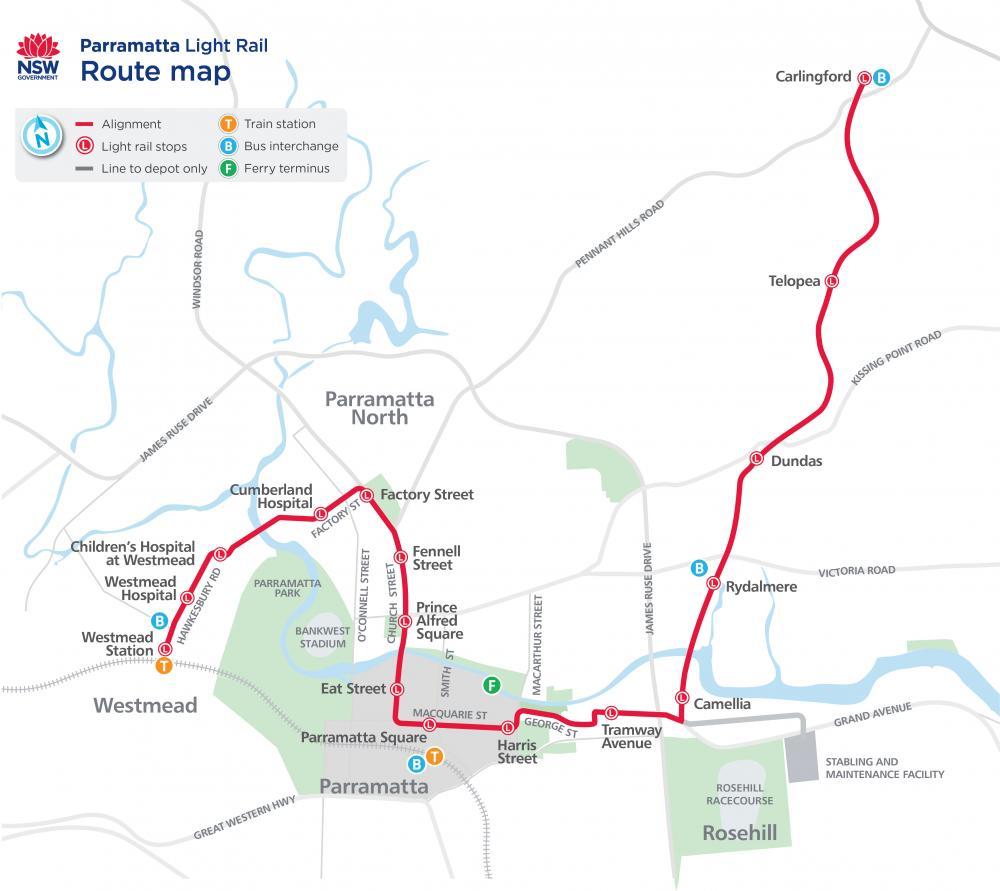 Image showing the Parramatta Light Rail route