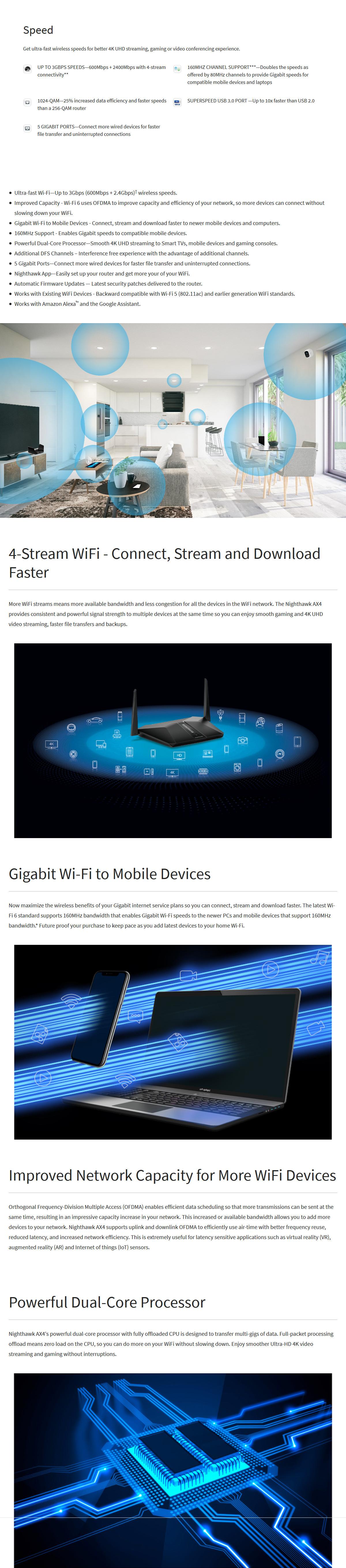 Netgear Nighthawk AX4 4-Stream Wi-Fi 6 AX3000 Router
