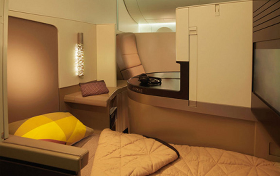 Etihad Business Class Studio fully-flat bed.