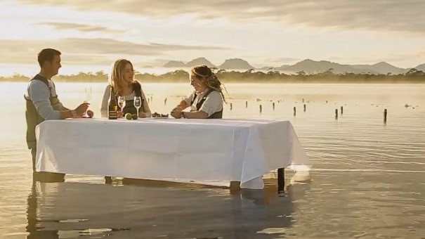 Oyster farm outdoor dining at Saffire Freycinet