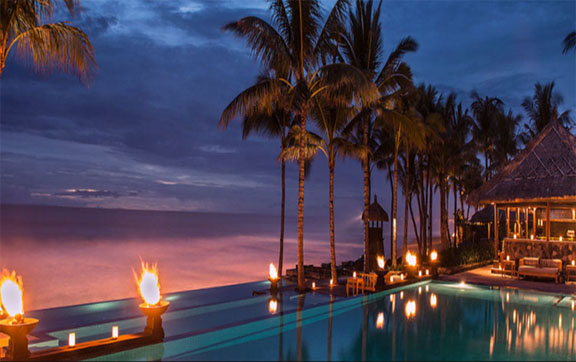 The Legian Bali Pool and View at Sunset