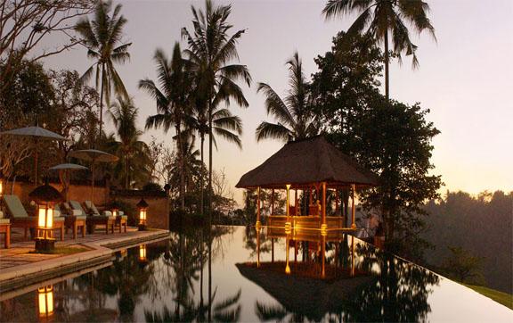 Amandari Ubud Bali Swimming Pool Sunset