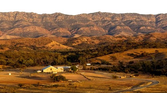 aerial view of Arkaba Homestead and the Flinders Ranges